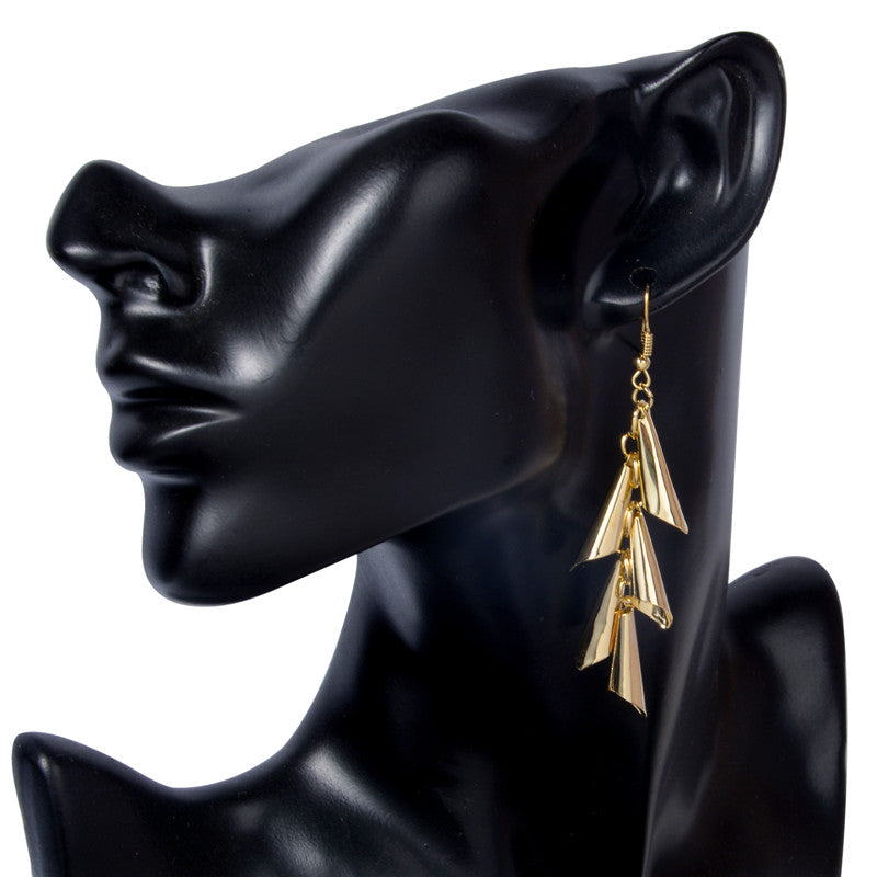 Golden Horns Dangle Drop Party Earrings - [neshe.in]