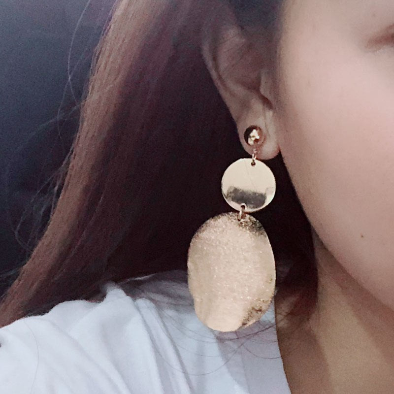 Round Double Layer Golden Metal Earrings - [neshe.in]