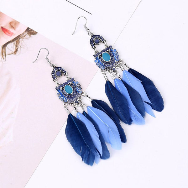Vintage Bohemian Feather Tassel Dangle Drop Earrings - 2 Colors - [neshe.in]