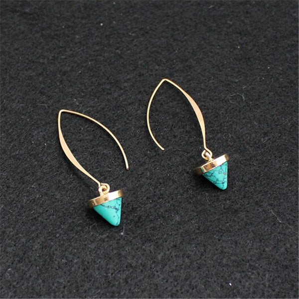 Hook Hoop Type Stone Earring - 2 Colors - [neshe.in]