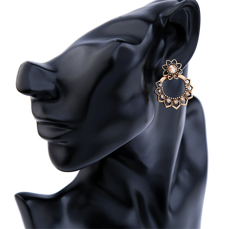 2-in-1 Crystal Flowers Statement Ear Jacket Style Earrings - [neshe.in]