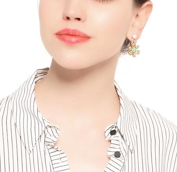 Romantic Flower Gold Color Trendy Clear Crystal Dangle Earrings - [neshe.in]
