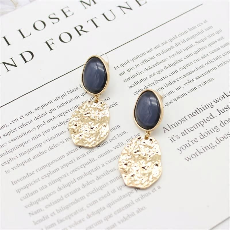 Irregular Punk Drop Acrylic Blue Stone Earrings - [neshe.in]