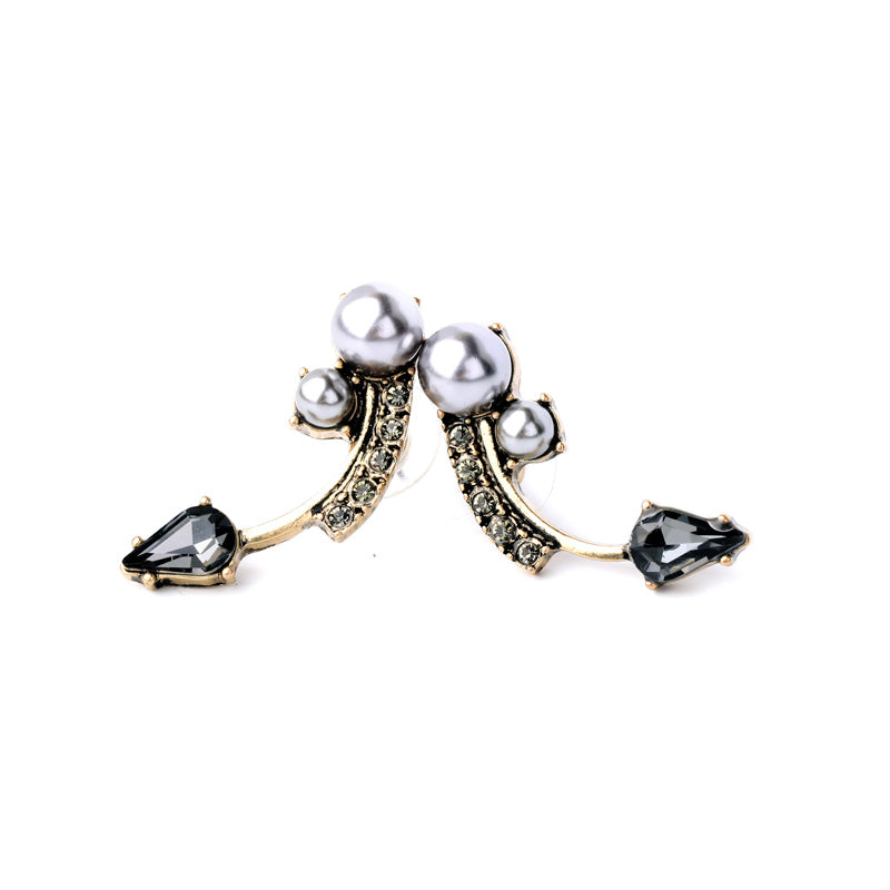 Simulated Pearl Crystal Stylish Drop Stud Earring - [neshe.in]