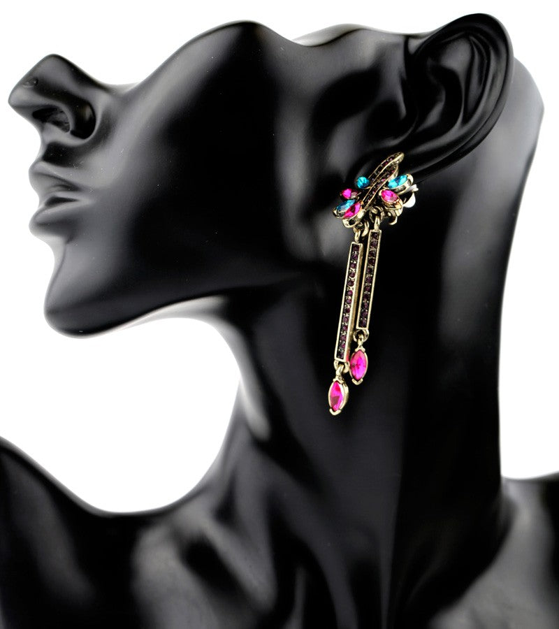 Antique Pink Blue Crystals Drop Earring - [neshe.in]