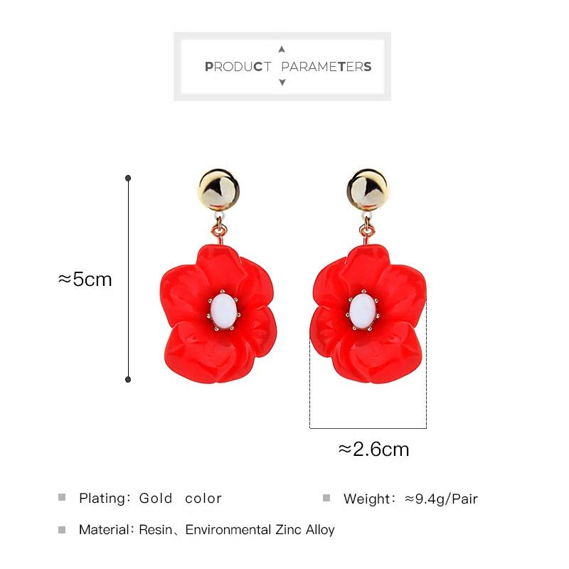 Red Acrylic Flower Floral Earring - [neshe.in]