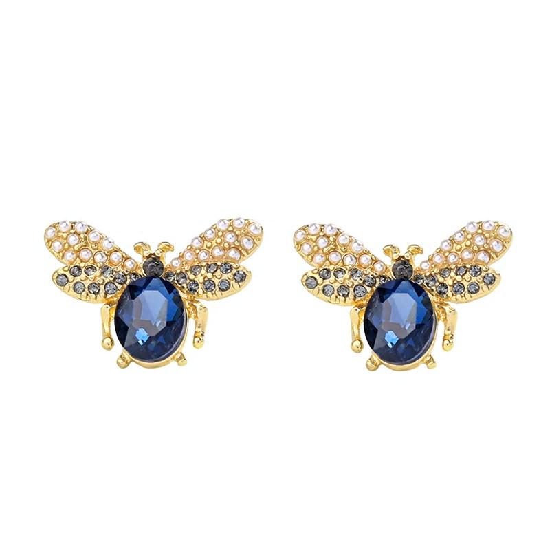 Blue Crystal Insect Stud Party Earrings - [neshe.in]