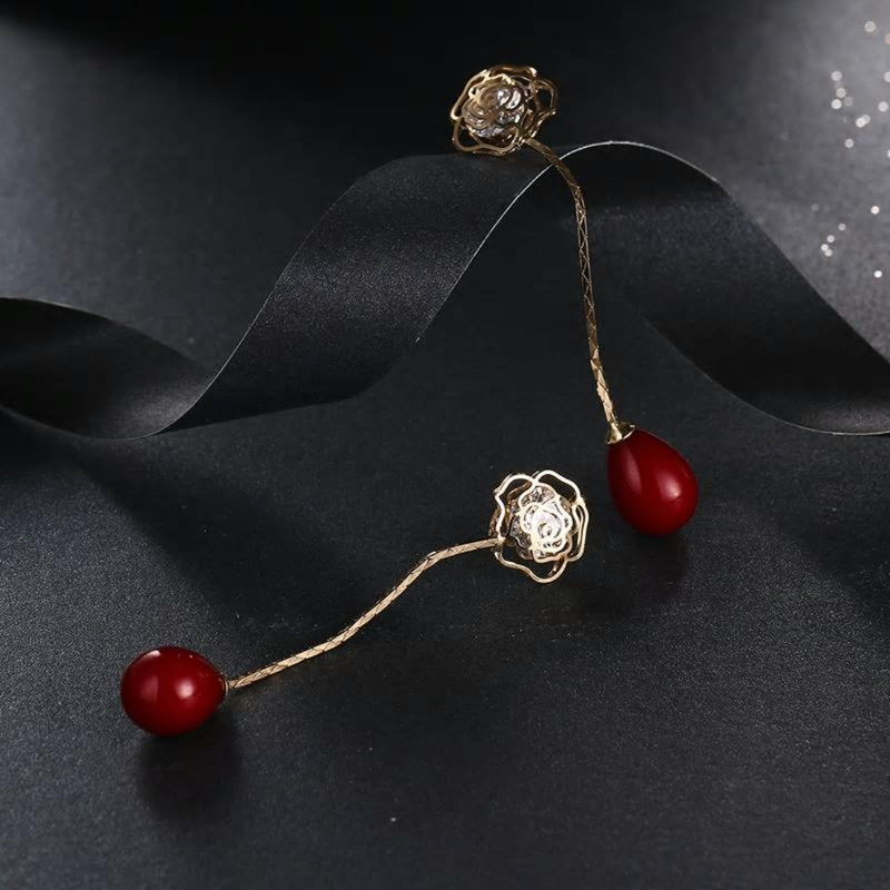 Rose Gold Flower CZ Crystals & Red Pearl Drop Earrings - [neshe.in]