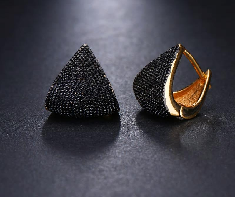 Two Tone Geometric Drop Earrings - 2 Colors - [neshe.in]