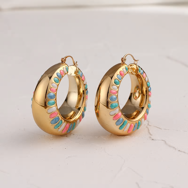 Romantic Resin Chunky Candy Color Golden Big Round Earring - [neshe.in]