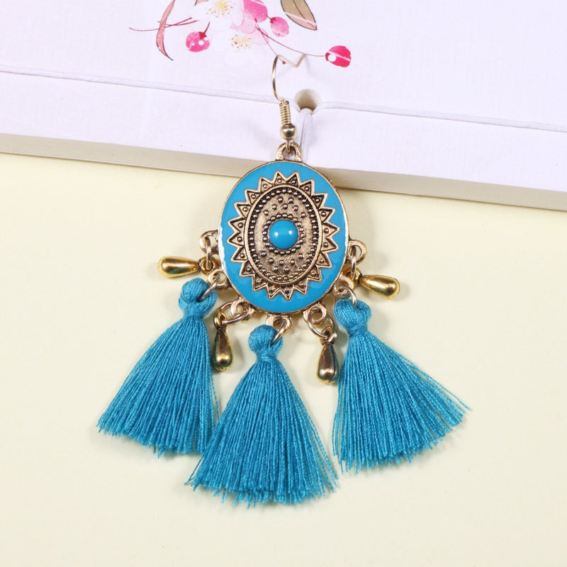 Vintage Enamel Crystal Tassel Fringe Colorful Earrings - 3 Colors - [neshe.in]