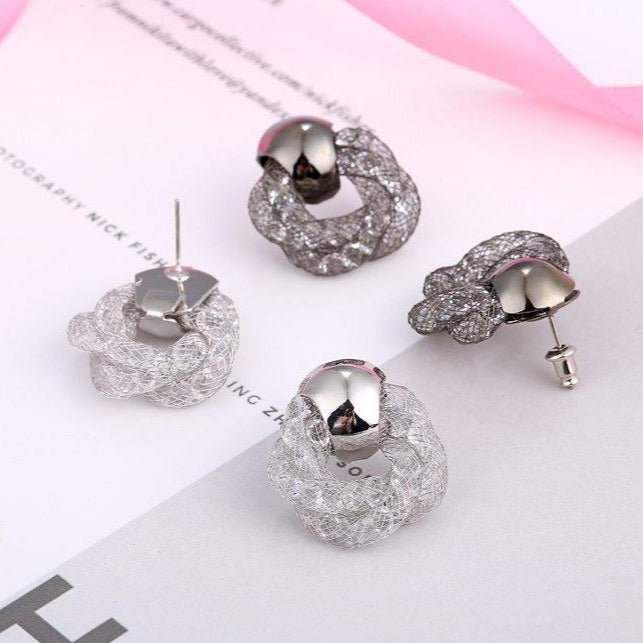 Net Hollow Twist Stud Earrings - 2 Colors - [neshe.in]