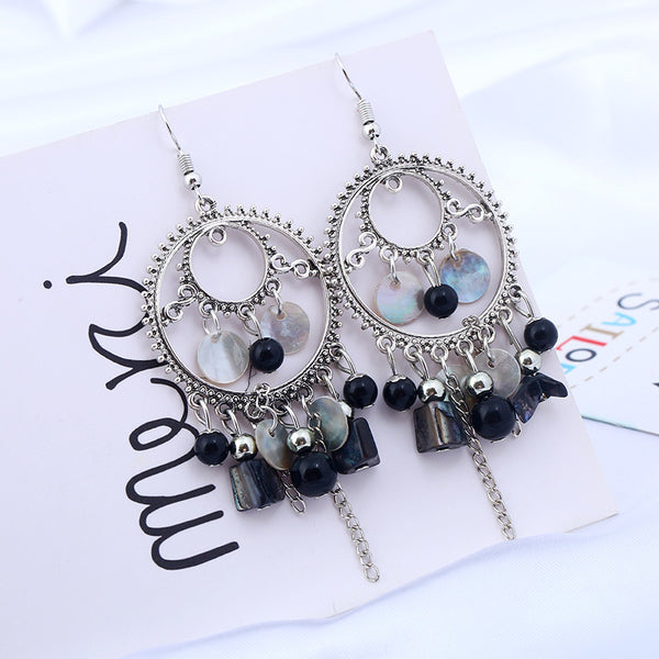 Bohemian Vintage Silver Color Geometric Dangle Earrings - [neshe.in]