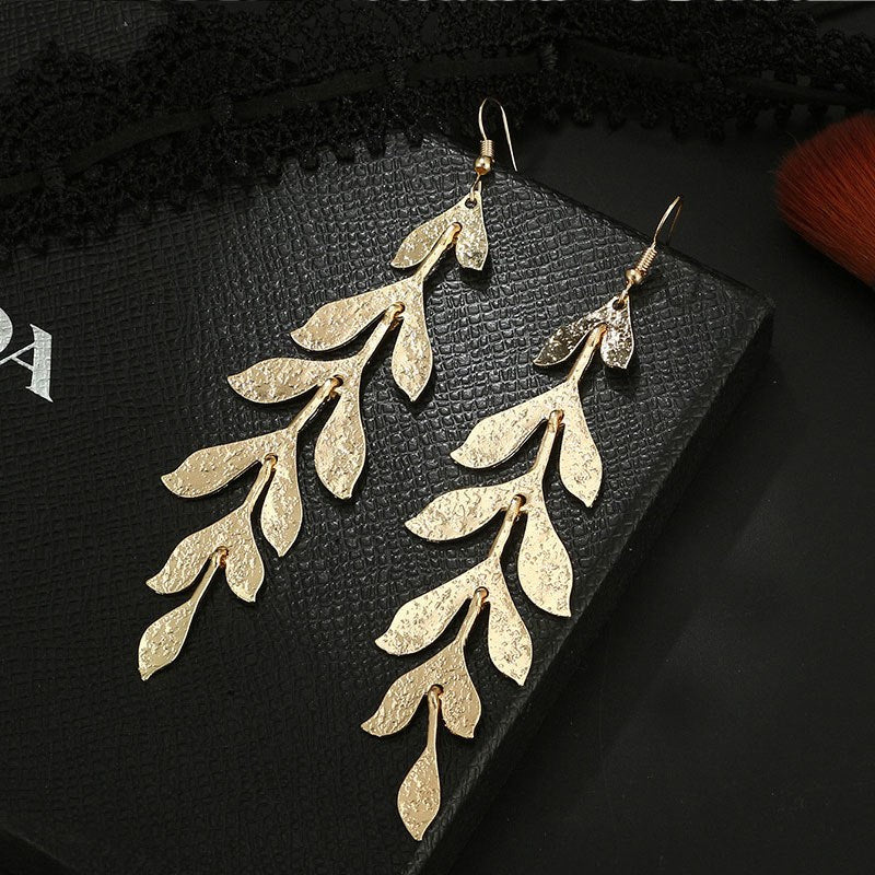 Statement Gold Color Leaves Long Drop Earrings - [neshe.in]