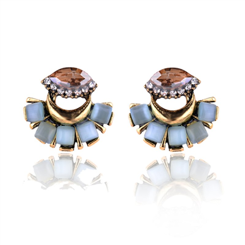 Moon Rhinestone Crystal Eye Stone Stud Earring - 4 Colors - [neshe.in]