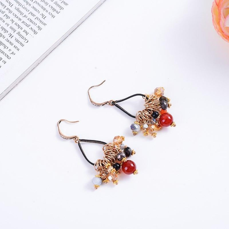 Vintage Colorful Beads Dangle Drop Earrings - [neshe.in]