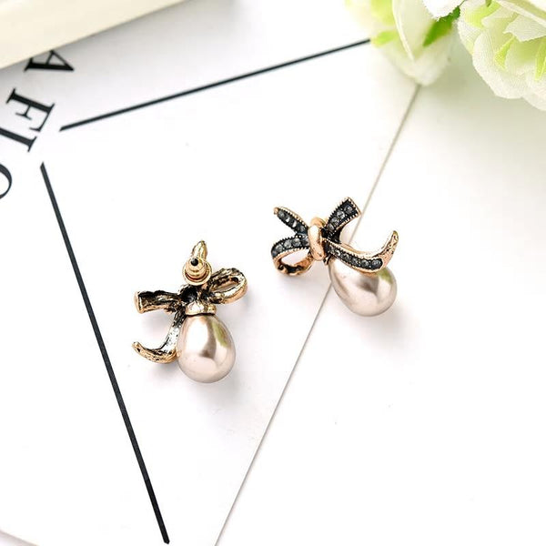 Antique Pearl Bow Knot Stud Earrings - 2 Colors - [neshe.in]
