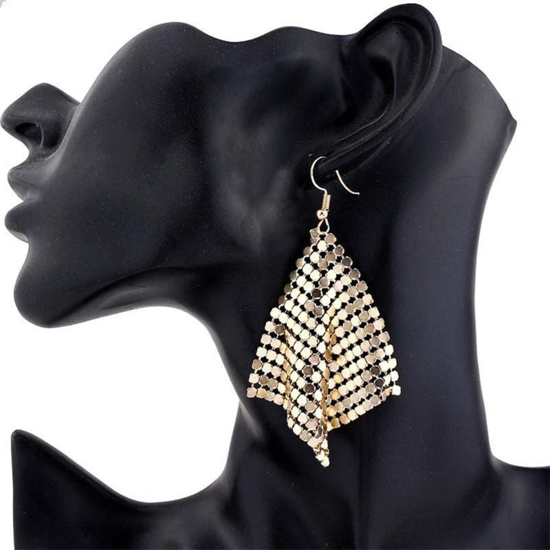 Delicate Sequin Geometric Shiny Dangle Earrings - 2 Colors - [neshe.in]