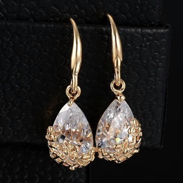 Classic Romantic Small Gold Silver Crystal Drop Earring - [neshe.in]