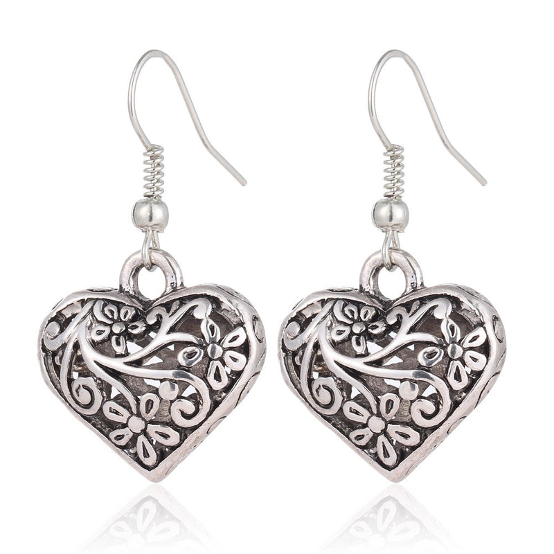Silver Antique Heart Shaped Earring For Valentine Day - [neshe.in]