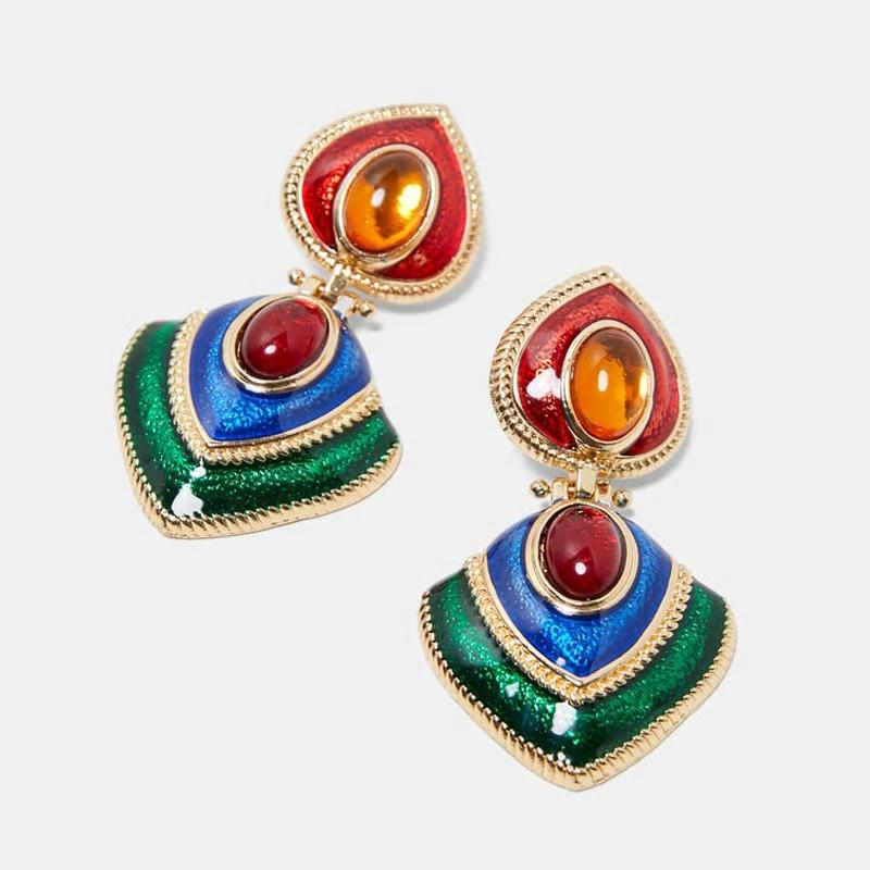 Ethnic Vintage Crystal Enamel Statement Earrings - [neshe.in]