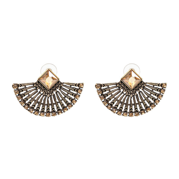 Antique Vintage Fan Shape Crystal Stud Earrings - [neshe.in]