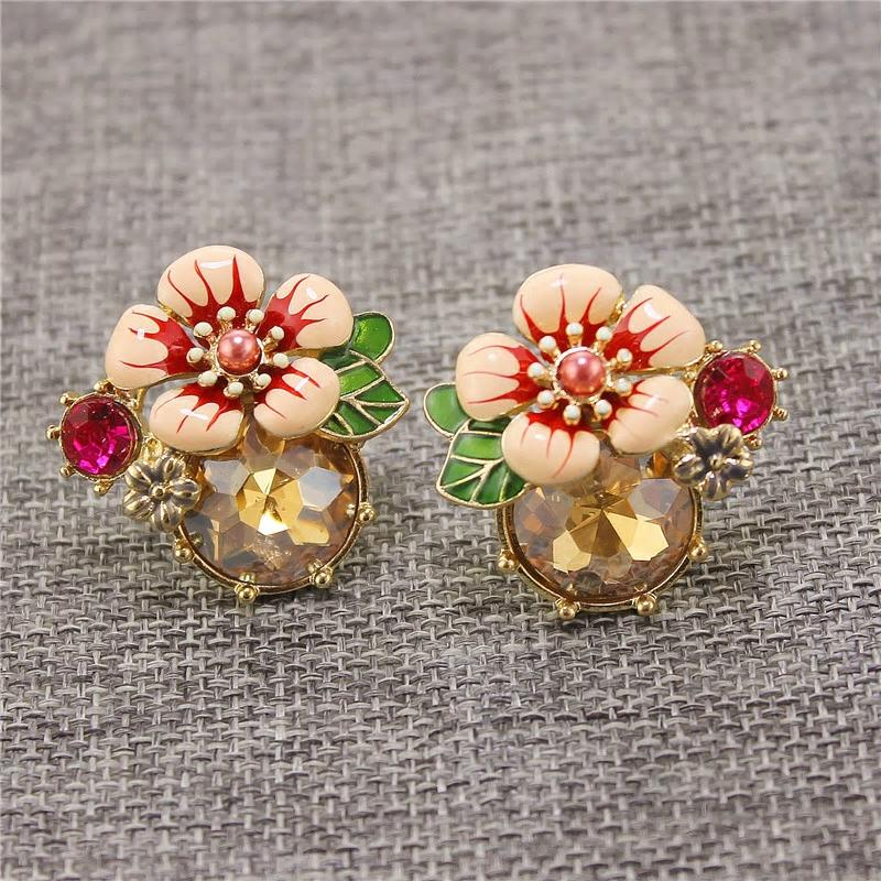 Exquisite Colorful Floral Stud Party Wear Earring - 2 Colors - [neshe.in]