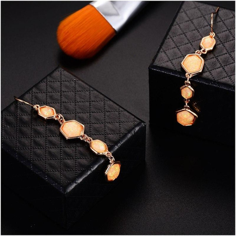 Colorful Laser Hexagon Resin Gold-Color Long Drop Earrings-4 Colors - [neshe.in]