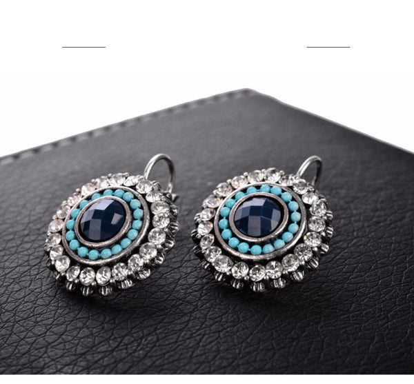 Bohemia Ethnic Cystal Blue Earrings - [neshe.in]