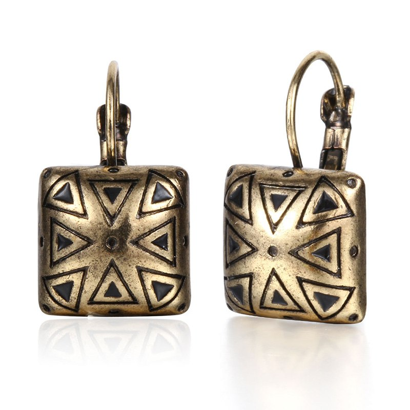 Golden Square Geometric Black Enamel Drop Stud Earring - [neshe.in]