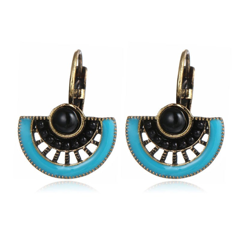 Geometric Fan Shape Enamel Drop Stud Earring - [neshe.in]