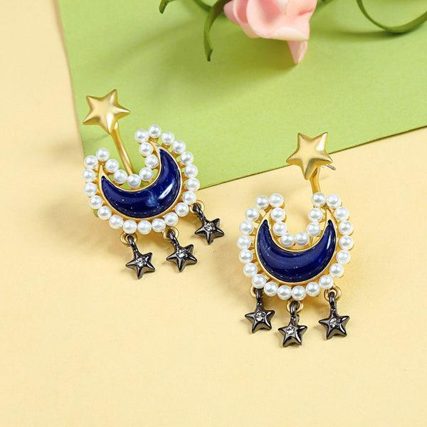 Moon & Stars Drop Bohemian Gold Color Stud Earrings - [neshe.in]