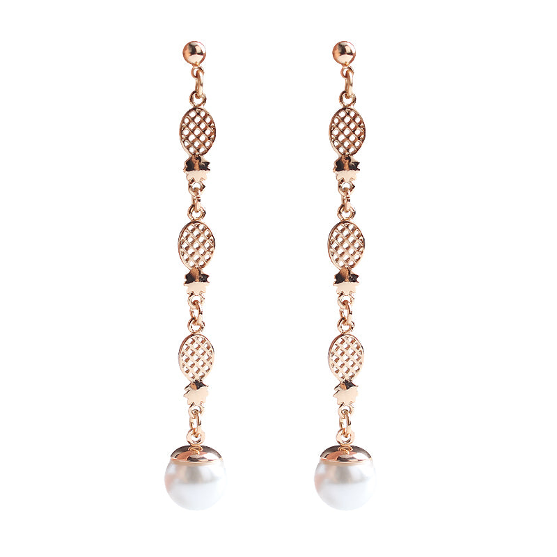 Simulated Pearl Long Gold Color Pineapple Drop Dangle Earrings - [neshe.in]