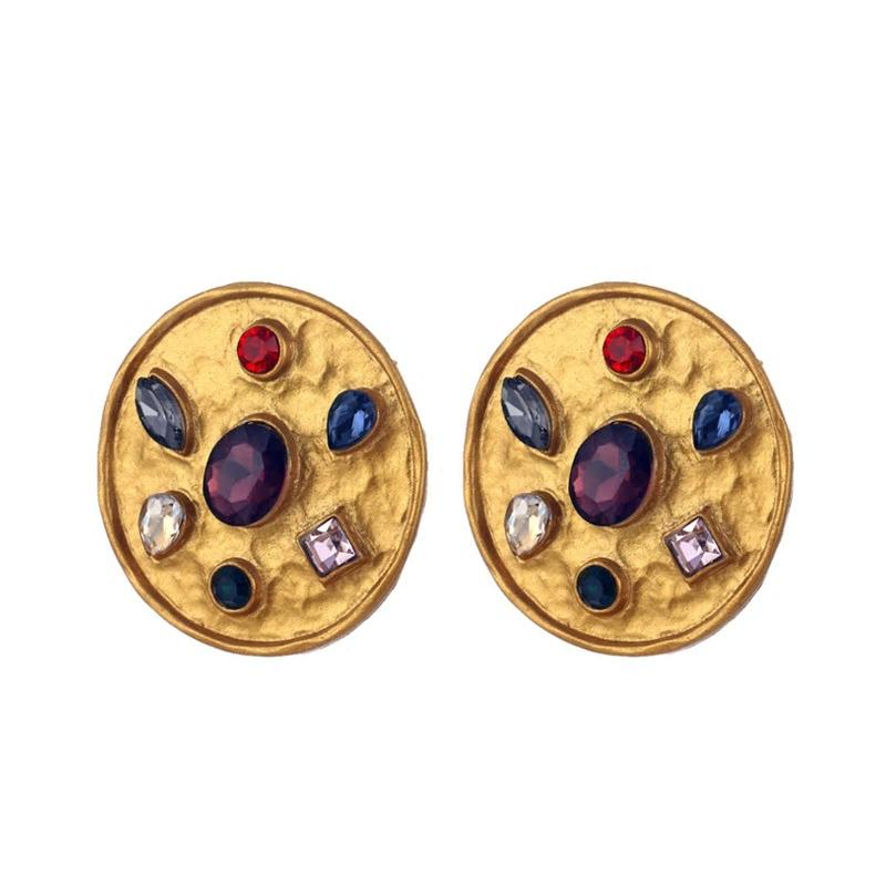 Vintage Golden Round Multicolor Crystals Stud Earrings - [neshe.in]