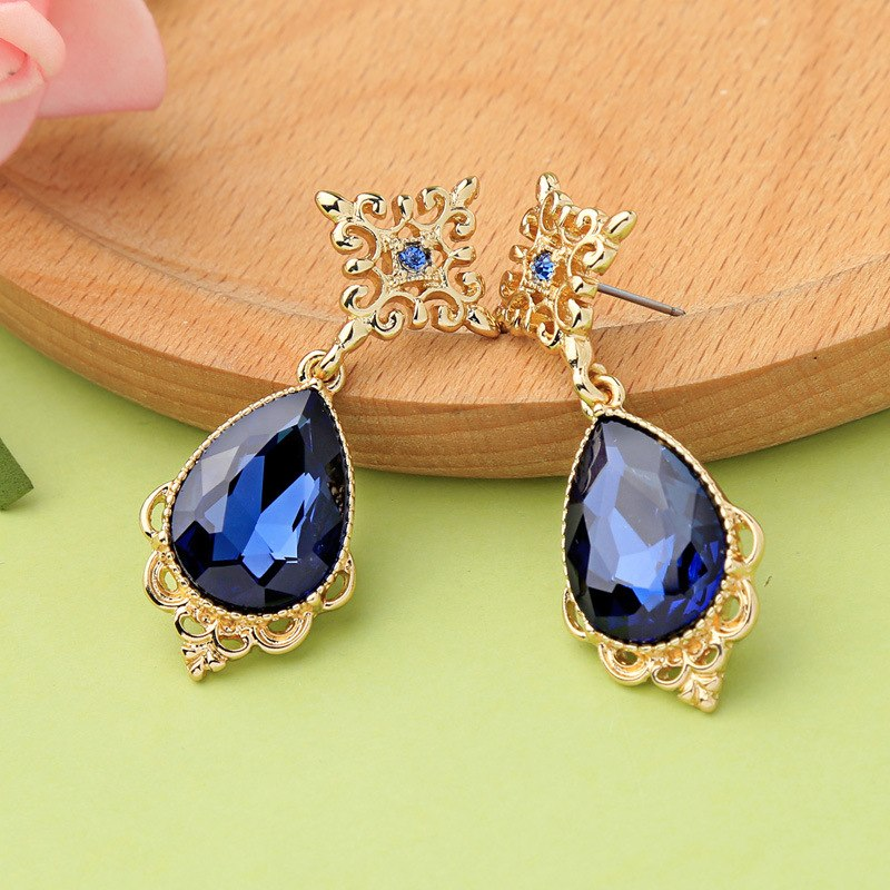 Gold Color Vintage Royal Blue Drop Earrings - [neshe.in]