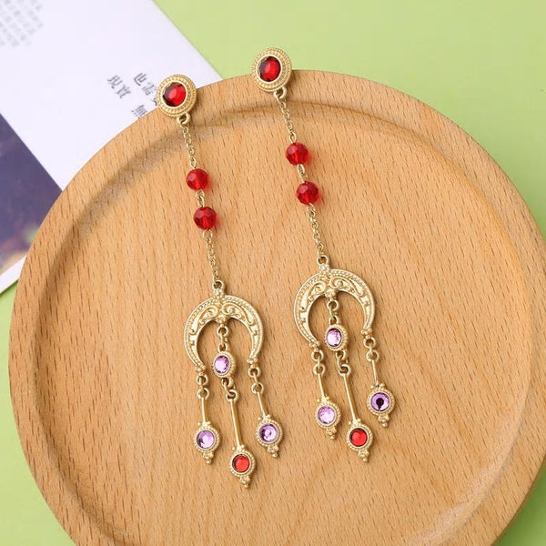 Vintage Ethnic Red Crystal Dangle Drop Golden Earrings - [neshe.in]