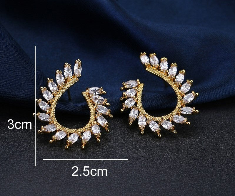 Trendy AAA CZ Cubic Zircon Crystal Hoop Earrings - 2 Colors - [neshe.in]