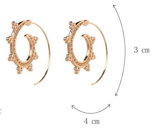 Punk Style Golden Party Spiral Hoop Earring - [neshe.in]