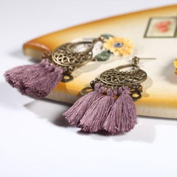 Antique Bronze Ethnic Tassel Earring - 5 Colors - [neshe.in]