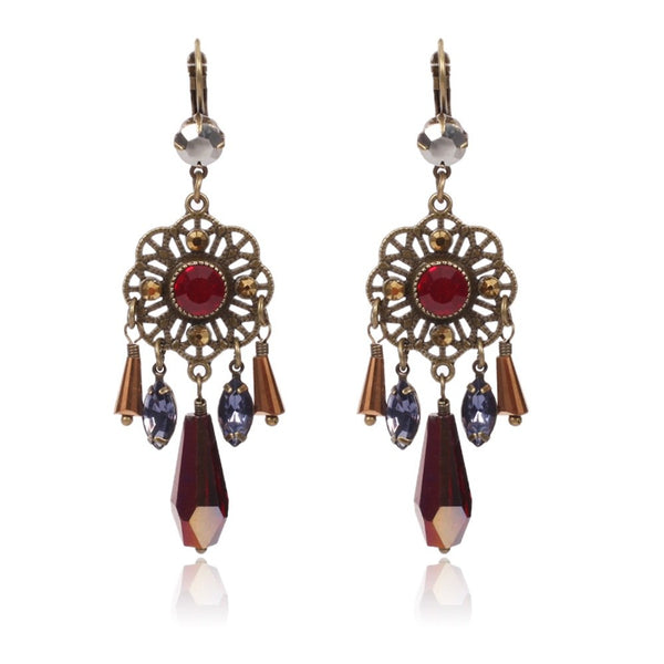 Women Flower Shape Gem Charming Earring - [neshe.in]
