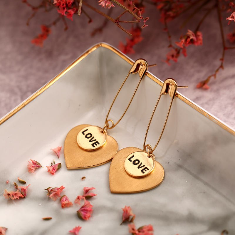 Safety Pin with Heart Drop( Love )Earring - [neshe.in]
