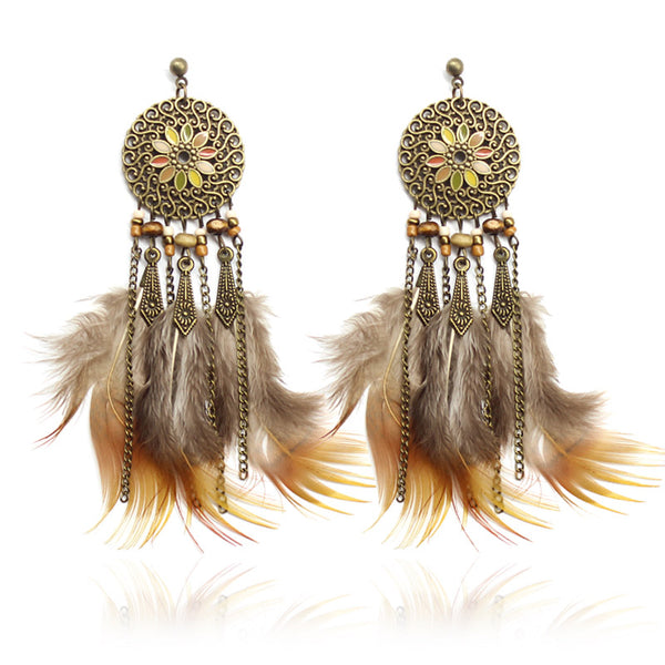 Feathers Tassel Discs Colorful Flowers Lucky Charm Earring - [neshe.in]