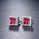 Small Square CZ Crystal Stud Earrings - 4 Colors - [neshe.in]
