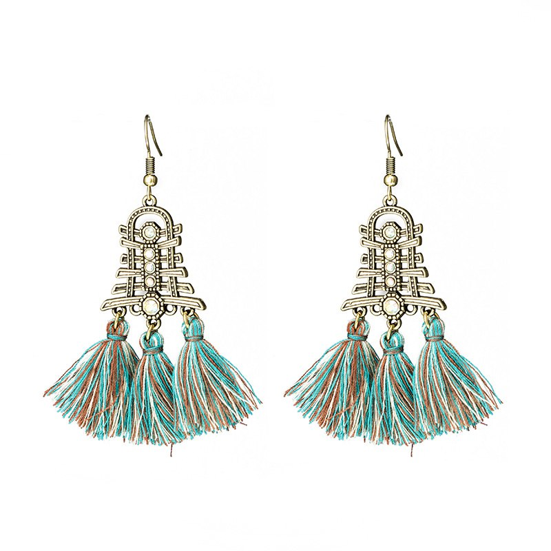 Temple Styled Ethic Tassel Earring -3 Colors - [neshe.in]