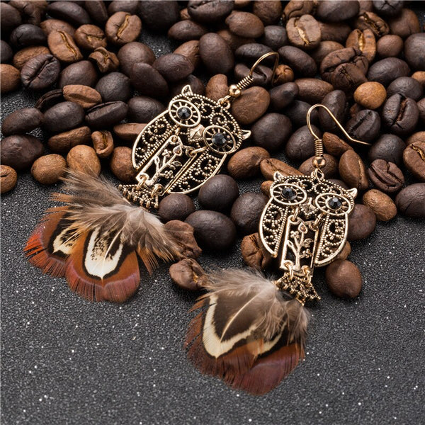 Metal Owl Styled Feather Earring - [neshe.in]