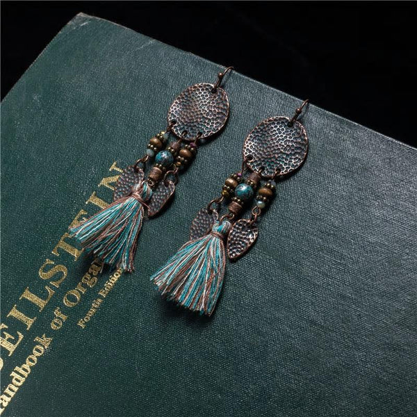 Long Tassel Antique Vintage Sequins Stones Earring - [neshe.in]