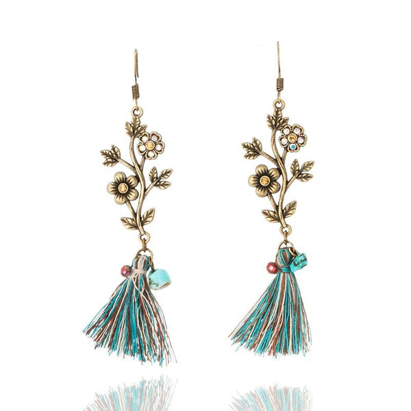 Alloy Flower Natural Stone Vintage Boho Ethnic Tassel - [neshe.in]