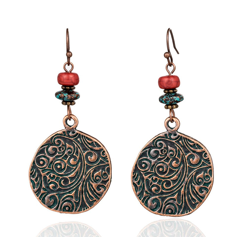 Antique Bohemian Circle Styled with Red Stone Earring - [neshe.in]