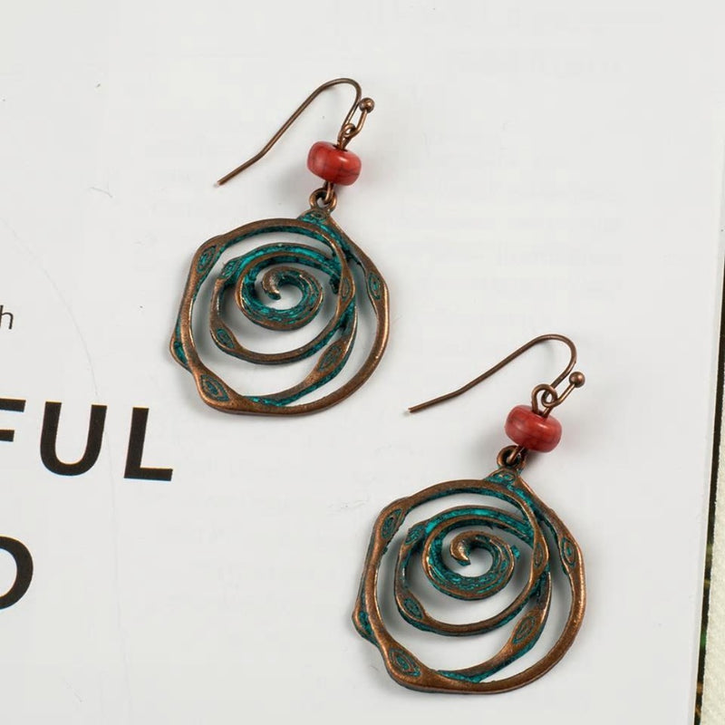 Antique Bohemian Sprial Circle Styled Drop Earrings - [neshe.in]