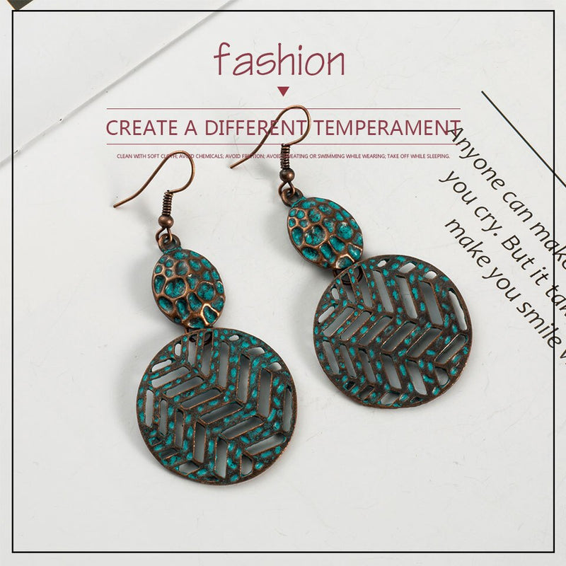 Antique Bohemian Circle Distressed Styled Earring - [neshe.in]